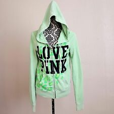 PINK VICTORIA'S SECRET SzM Green zip front hoodie full hood kangaroo pockets