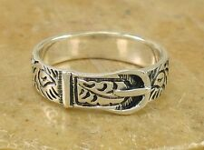 UNIQUE 925 STERLING SILVER WESTERN BELT BUCKLE RING size 7  style# r2178