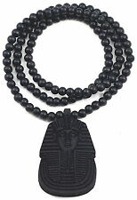 NEW BLACK METAL PHARAOH KING TUT PENDENT CHARM WOODEN BEAD CHAIN NECKLACE
