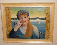 Girl With Blue Beret-Shelter Island Oil painting-August Mosca