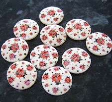 10 Wooden Red Ladybird Ladybug Round Buttons 18mm sewing