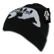 Black California Republic Cali Bear Monster Cuffless Short Beanie Skull Knit Hat
