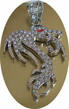 Silver Finish With Crystal Hip Hop Bling Fashion Dragon Pendant