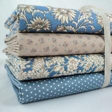 4 X FQ BUNDLE - ANTIQUE DAISY - DEEP  BLUE - 100% FLORAL COTTON FABRIC retro