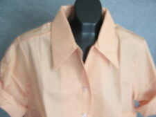 VTG NOS 70s WOMENS BIG COLLAR ROLL UP SLEEVE OPEN NECK BLOUSE 42 LORI-LYNN  USA