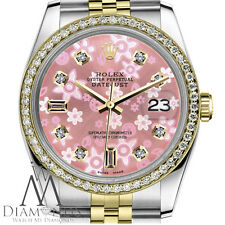 Women`s Rolex 26mm Datejust 2 Tone Glossy Pink Flower Dial 8+2 Diamond Accent