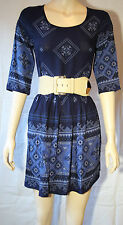 """ Sunny Girl ""  Navy  Print  Dress       SIZE 14   BRAND NEW"