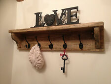 WOODEN RUSTIC COAT HOOK & HAT RACK SHELF - HAND MADE