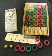 Vintage Carrom Board Game Playing Pieces, 1945 Rule Booklet  - AWESOME!!!!