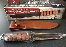 USMC Marine Military Combat Fixed Blade Survival Hunting Knife w Leather Sheath