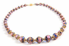 Vintage Murano Italy Venetian Graduated Glass Wedding Cake Estate Bead Necklace