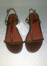 NWT H&M WOMENS DARK BROWN STRAPPY ANKLE SLING FLATS SANDAL SHOE SIZE 8.5 US