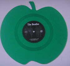 THE BEATLES LOVE ME DO & P.S. I LOVE YOU APPLE GREEN SHAPED VINYL RECORD MINT