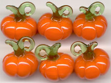 6pcs Pumpkin Halloween Vegetable Lampwork Glass Beads Jewelry Making Craft