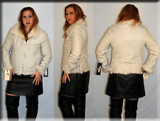 New Cream Color Suede Shearling Jacket Lamb Fur Lining Size Small 4 6 S