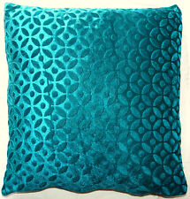 "16"" Teal Green Velvet Cushion Pillow Cover Sofa Throw Indian Ethnic Decorative"