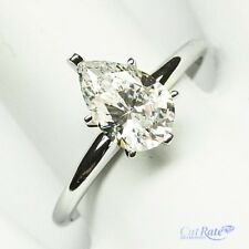 Pear Shape Solitaire Engagement Wedding Ring 1 Carat Solid 14k Real White Gold