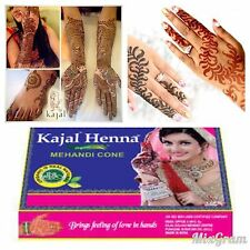 5 x DARK BROWN Kajal Organic and Herbal Henna Mehndi Cones Tubes Ready To Use
