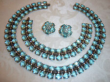 VTG CROWN TRIFARI BLUE CRYSTAL STERLING SILVER NECKLACE BRACELET EARRING SET