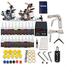 Complete Tattoo Kit 2 Machine Gun 20 Ink Equipment Needle Power Supply