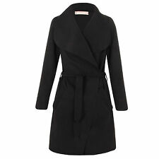S219 Ladies Italian Design Long Waterfall Belted Long Sleeve Trench Coat Jacket