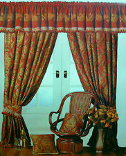 """REGAL DAMASK GOLD 66"""" x 54"""" WINE BURGUNDY HEAVY READY MADE PENCIL PLEAT CURTAINS"""