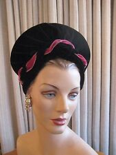 STELLAR 40'S BLACK VELVET TURBAN STYLE HAT W/ROSE RIBBON