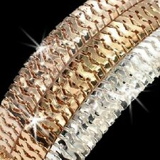 Tri-Color Silver Rose Yellow Gold gp Diamond Cut SNAKE Link STATEMENT Bracelet