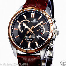 CASIO EDIFICE CHRONOGRAPH EFR-510L-5A DAY & DATE DISPLAY BROWN LEATHER BAND