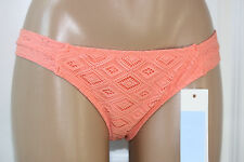 NEW ROXY Base Girl Diamonds Lace Coral Hipster Bikini Swim Bottom L Large