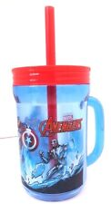 Marvel Avengers Assemble Boy's Kids Graphic Plastic Drinking Mug Cup W/Straw NEW
