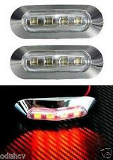 2x LED 24V Rear RED Chrome Marker Lights Truck LKW Trailer Bus Lorry Camper Van