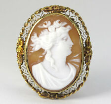 Antique cameo pin pendant brooch yellow gold hand carved shell filigree signed!!