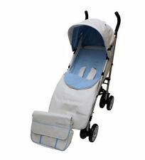 New Babyco massimo leatherette pushchair white & blue with bag footmuff & pvc 0m