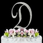 Crystal Rhinestone Covered Silver Monogram Wedding Cake Topper Letter Initial