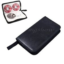 Popular Black 80 Disc CD DVD Case Holder Storsge Wallet Faux Leather Bag