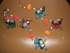 INDIA  RAJASTHANI  ELEPHANT STATUE DOLL HANGING WITH GLASS BEADS AND BELLS
