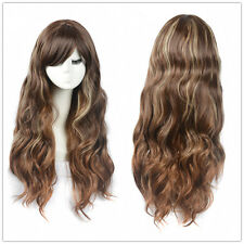 Women's Coffee Brown Long Wigs Wavy curly Blonde Highlights Hair Full Wigs