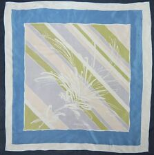 Vintage JACQUES HEIM Paris Designer ABSTRACT PAINT PASTEL Blue Purple Silk Scarf