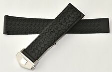 22mm Carrera Monaco Silicon Rubber Band Strap w/ Deployment Clasp for TAG Heuer