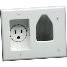 2-Gang Recessed Wall Plate Low Voltage Cable Outlet w/ Power Receptacle TV White