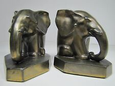 Antique Art Deco Elephant Bookends old pair pachyderms circa 1920s cast mtl brs