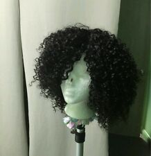 8A grade short Brazilian kinky curly human hair bob wig with Lace Closure
