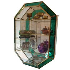 "Glass and Brass Curio Cabinet  Mirror  Wall Curio  Cabinet Case Green 24"" Tall"