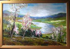 W.H.UNGER  Der Rhein im Frühling  HANDSIGNIERT,Orig Ölbild 80x57cm mit Rahmen