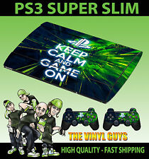 PLAYSTATION PS3 SUPER FIN KEEP CALM AND JEU SUR STICKER SKIN & 2 PAD SKIN