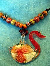 UNUSUAL HANDMADE BEAD NECKLACE. 3D MURANO GLASS SWAN PENDANT SPECIAL EXOTIC GIFT