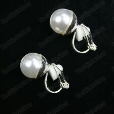CLIP ON 10mm WHOLE PEARL fake studs NON-PIERCED EARRINGS vintage simple pearls