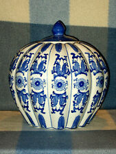 "LARGE SIGNED CHINESE BLUE & WHITE PUMPKIN SHAPED LIDDED 11"" CERAMIC JAR PERFECT"