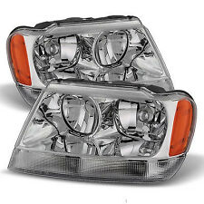 Fits 1999-04 JEEP GRAND CHEROKEE REPLACEMENT HEADLIGHTS HEADLAMPS PAIR SET LH+RH